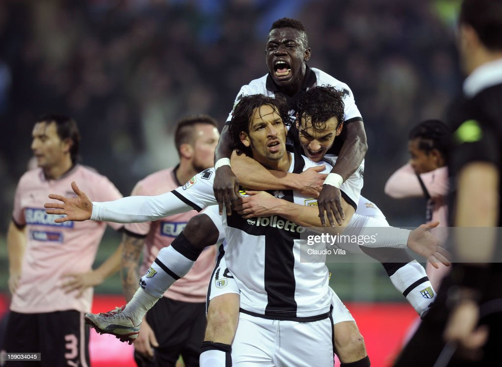 Amauri of Parma FC (C) celebrates scoring the second goal during the Serie A match between Parma FC and US Citta di Palermo at Stadio Ennio Tardini on January 6, 2013 in Parma, Italy.