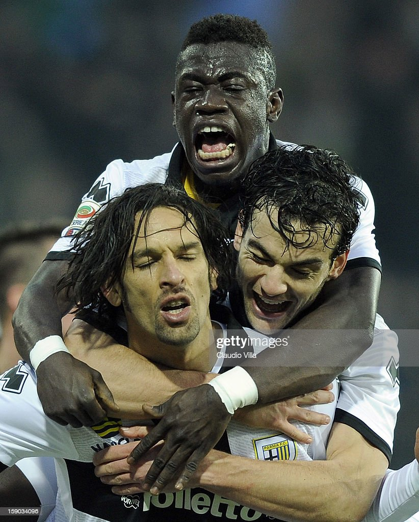 Amauri of Parma FC (L) celebrates scoring the second goal during the Serie A match between Parma FC and US Citta di Palermo at Stadio Ennio Tardini on January 6, 2013 in Parma, Italy.