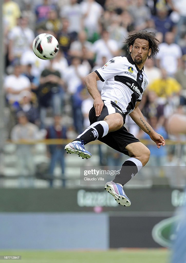 Amauri of Parma FC in action during the Serie A match between Parma FC and S.S. Lazio at Stadio Ennio Tardini on April 28, 2013 in Parma, Italy.