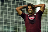 Amauri of Torino FC reacts during the UEFA Europa League group B match between Torino FC and HJK Helsinki at Olimpico stadium on October 23 2014 in...