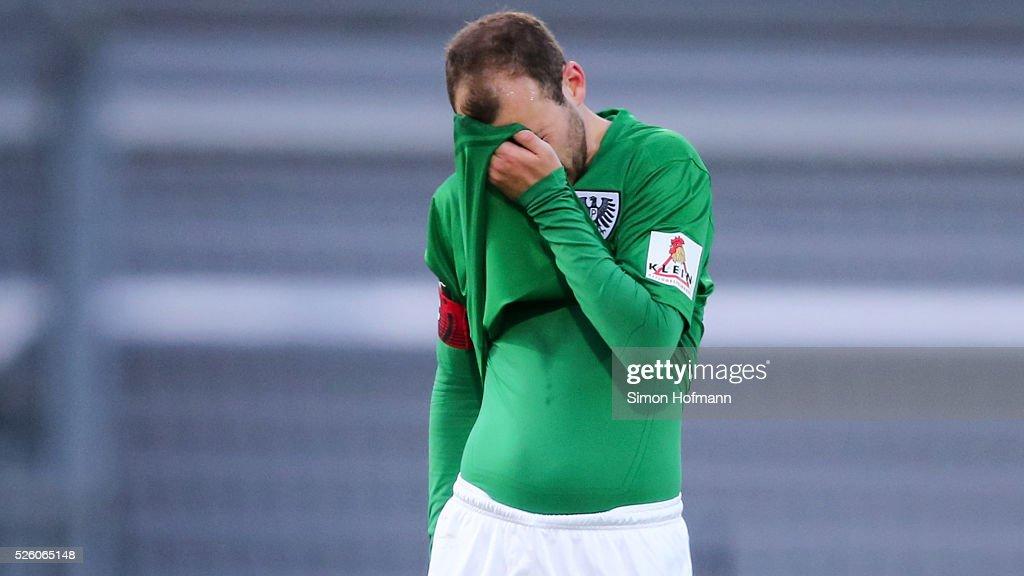 Amaury Bischoff of Muenster reacts during the Third League match between Wehen Wiesbaden and Preussen Muenster at BRITA-Arena on April 29, 2016 in Wiesbaden, Hesse.