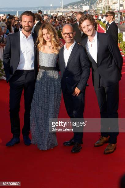 Amaury de Crayencourt Alice David Maurice Barthelemy and Baptiste Lecaplain attend closing ceremony red carpet of 31st Cabourg Film Festival on June...