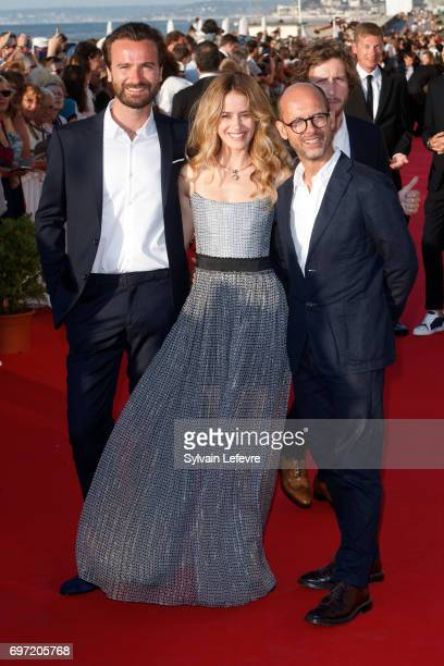 Amaury de Crayencourt Alice David Maurice Barthelemy attend closing ceremony red carpet of 31st Cabourg Film Festival on June 17 2017 in Cabourg...