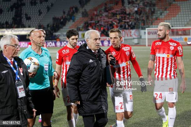 Amaury Delerue referee and deleguee and Benoit Pedretti of Nancy during the Ligue 1 match between As Nancy Lorraine and Lille OSC at Stade Marcel...
