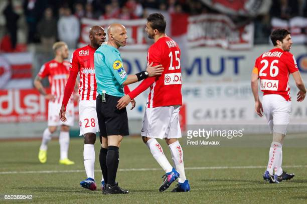 Amaury Delerue referee and Youssouf Hadji of Nancy during the Ligue 1 match between As Nancy Lorraine and Lille OSC at Stade Marcel Picot on March 11...