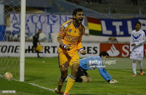 Amaury Escoto celebrates after scoring the first and winning goal during a match between San Jose Oruro and Tigres UANL as part of Copa Bridgestone...