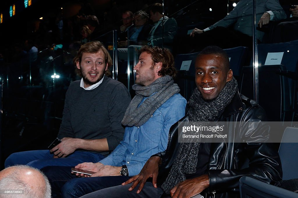 Amaury Leveaux, guest and Blaise Matuidi attend the BNP Paribas Tennis Master 1000 2015 on November 8, 2015 in Paris, France.