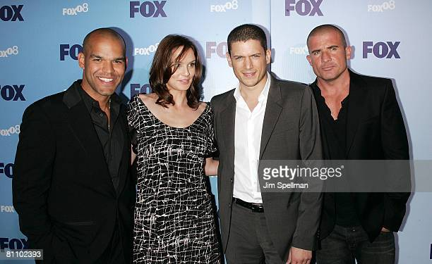 Amaury Nolasco Sarah Wayne Callies Wentworth Miller and Dominic Purcell arrives at the 2008 FOX UpFront at Wollman Rink in Central Park on May 15...