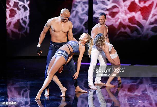Amaurys Perez and Matilde Brandi perform during the 'Si Puo Fare' Tv Show at RAI Studios on April 13 2015 in Rome Italy