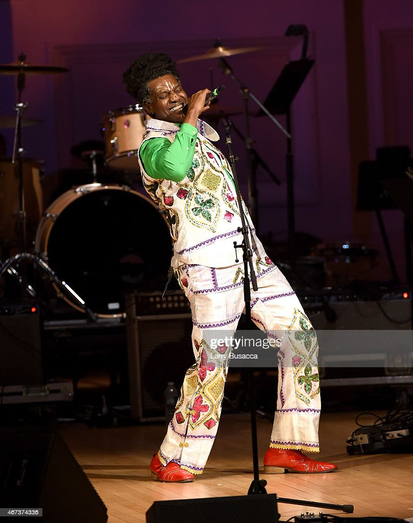 Amayo of Antibalas performs onstage during The Music Of David Byrne & Talking Heads at Carnegie Hall on March 23, 2015 in New York City.