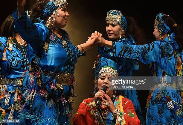 Amazigh singer Fatima Tabaamrant performs during the festival 'Edition Tiwsi ' to celebrate the Amazigh new year also called 'Yennayer' the 2965th...