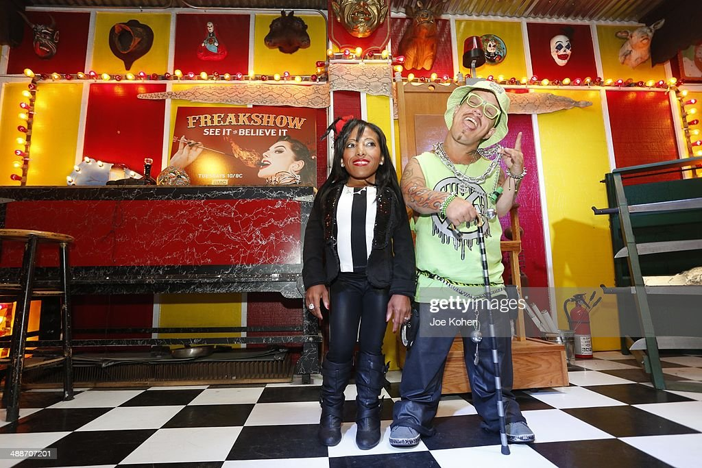 Amazing Ali and Wee Matt McCarthy pose for a photo duing AMC's 'Freakshow' Cast Meet And Greet on May 7 2014 in Venice California