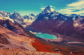 Amazing autumn landscape with Fitz Roy and Cerro Torre mountains. Los Glaciares National park. Argentina.