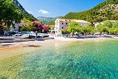 crystal clear water of adriatic sea in south dalmatia near dubrovnik