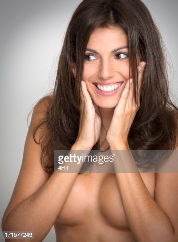 amazing bru te woman smiling to the side stock photo