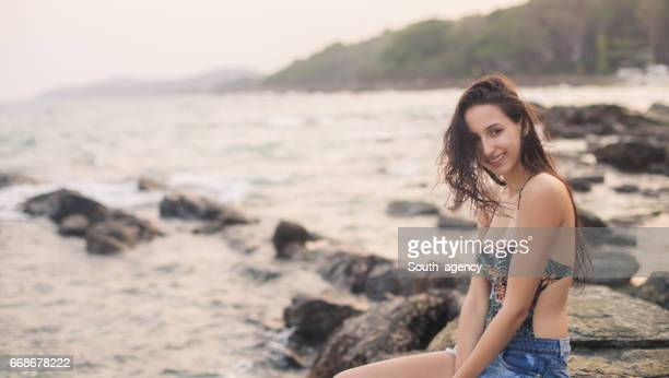 Amazing girl by the ocean