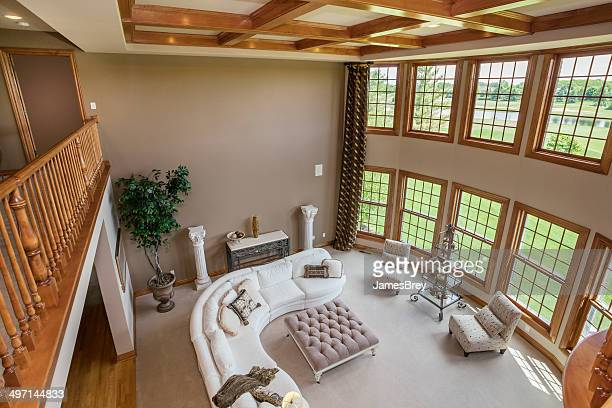 Amazing Great Room With Hardwood Ceiling
