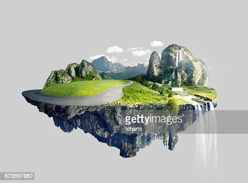 Amazing island with grove floating in the air : Stock Photo