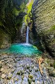 Amazing Kozjak waterfall hidden in Julian Alps canyon near Kobarid, Primorska,Julian Alps, Sovenia,Europe,Nikon D850