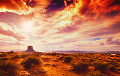 amazing landscape at the sunset at the monument valley national park in arizona USA with cloudy and drama sky