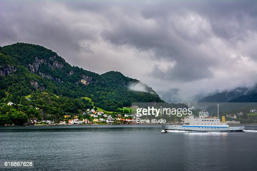 Amazing landscape view with fjord, mountains and ferry. Norway : Stock Photo