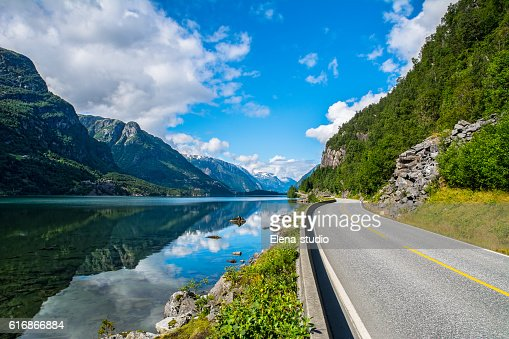 Amazing nature view with fjord and mountains. Norway : Stock Photo