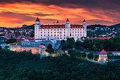 The castle in Bratislava (Slovakia) at sunset.