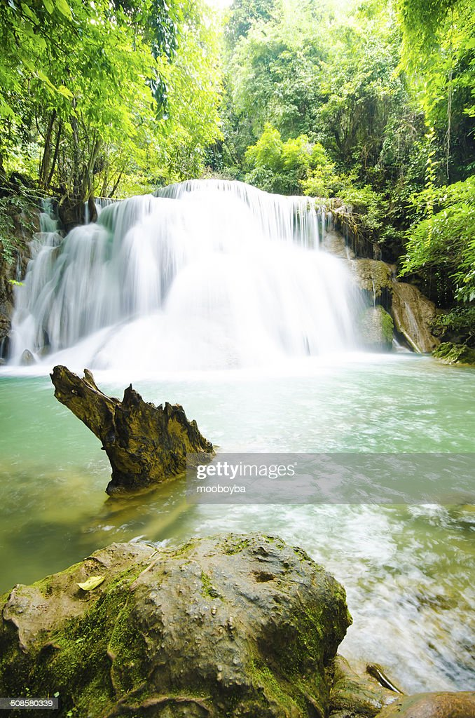 Amazing Thailand waterfall in autumn forest : Stock Photo