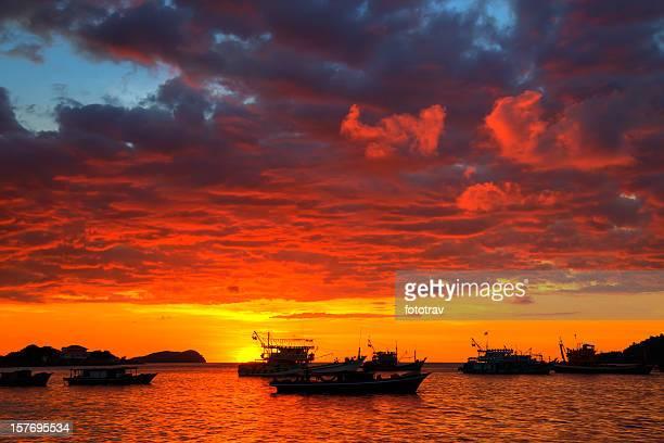 Amazing tropical sunset on Kota Kinabalu bay