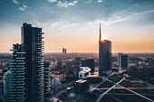 Skyscraper at sunset in Milan
