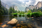 yosemite valley view from merced river