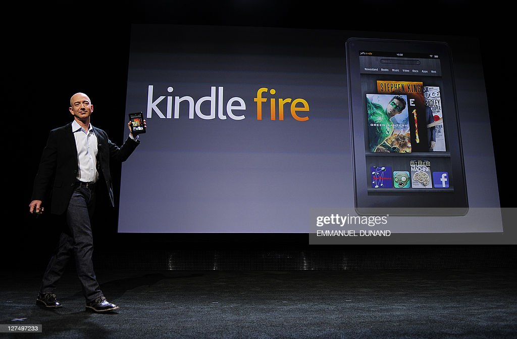 Amazon CEO Jeff Bezos introduces the new Kindle Fire tablet in New York, on September 28, 2011. The Fire is expected to go up against Apple's iPad2. AFP PHOTO/Emmanuel Dunand