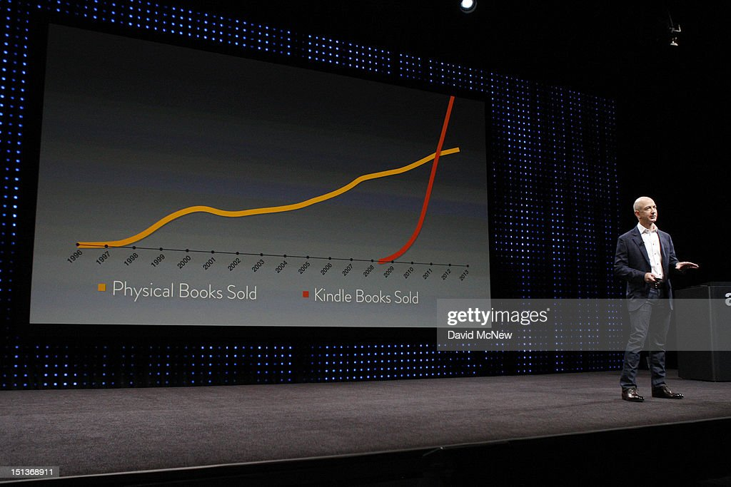Amazon CEO Jeff Bezos stands next to a graphic comparing the trends of Amazon book sales against physical book sales during a press conference on September 6, 2012 in Santa Monica, California. Amazon unveiled the Kindle Paperwhite and the Kindle Fire HD in 7 and 8.9-inch sizes.
