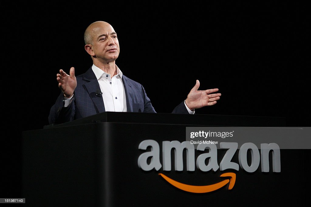 Amazon CEO <a gi-track='captionPersonalityLinkClicked' href=/galleries/search?phrase=Jeff+Bezos&family=editorial&specificpeople=217573 ng-click='$event.stopPropagation()'>Jeff Bezos</a> unveils new Kindle reading devices at a press conference on September 6, 2012 in Santa Monica, California. Amazon unveiled the Kindle Paperwhite and the Kindle Fire HD in 7 and 8.9-inch sizes.
