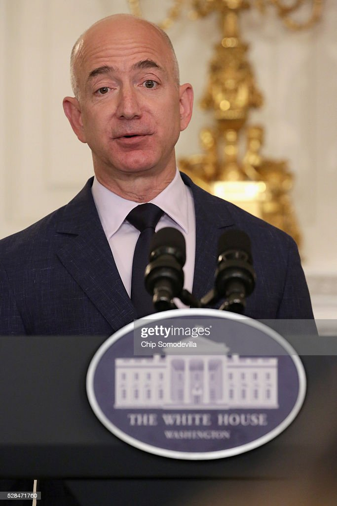 Amazon founder and CEO Jeff Bezos delivers remarks during an event announcing commitments from more than 50 companies that have pledged to hire and train veterans and military spouses in the State Dining Room at the White House May 5, 2016 in Washington, DC. On the fifth anniversary of first lady Michelle Obama and Dr. Jill Biden's military hiring initiative Joining Forces, Bezos announced a commitment by his company to hire 25,000 more military veterans in the next five years.