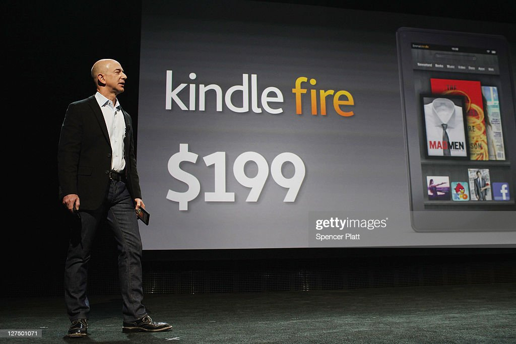 Amazon founder <a gi-track='captionPersonalityLinkClicked' href=/galleries/search?phrase=Jeff+Bezos&family=editorial&specificpeople=217573 ng-click='$event.stopPropagation()'>Jeff Bezos</a> introduces a new tablet called the Kindle Fire on September 28, 2011 in New York City. The Fire, which will be priced at $199, is an expanded version of the company's Kindle e-reader that has 8GB of storage and WiFi. The Fire gives users access to streaming video, as well as e-books, apps and music, and has a Web browser. In addition to the Fire, Bezos introduced four new Kindles including a Kindle touch model.