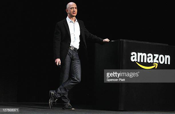 Amazon founder Jeff Bezos introduces the new Amazon tablet called the Kindle Fire on September 28 2011 in New York City The Fire which will be priced...