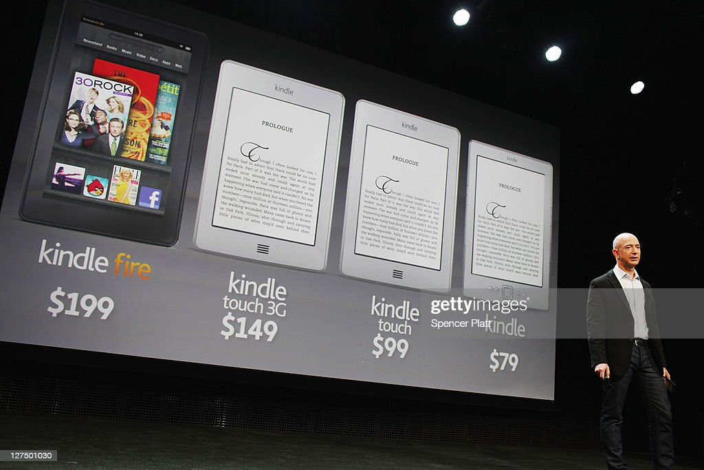 Amazon founder <a gi-track='captionPersonalityLinkClicked' href=/galleries/search?phrase=Jeff+Bezos&family=editorial&specificpeople=217573 ng-click='$event.stopPropagation()'>Jeff Bezos</a> introduces three new Kindle models and the new tablet called the Kindle Fire on September 28, 2011 in New York City. The Fire, which will be priced at $199, is an expanded version of the company's Kindle e-reader that has 8GB of storage and WiFi. The Fire gives users access to streaming video, as well as e-books, apps and music, and has a Web browser. In addition to the Fire, Bezos introduced four new Kindles including a Kindle touch model.