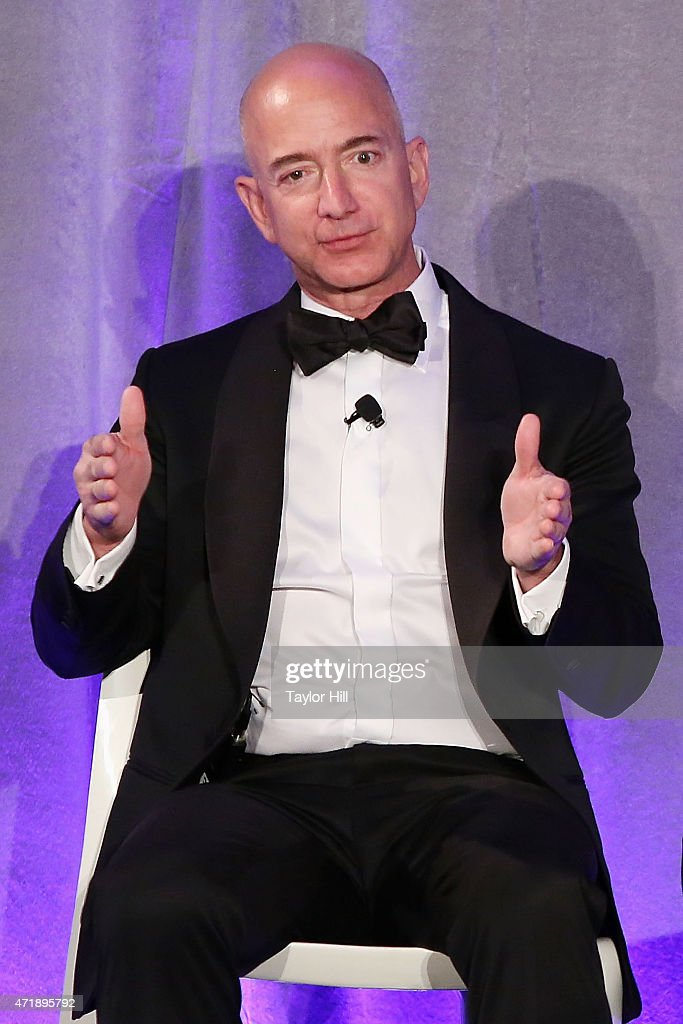Amazon founder <a gi-track='captionPersonalityLinkClicked' href=/galleries/search?phrase=Jeff+Bezos&family=editorial&specificpeople=217573 ng-click='$event.stopPropagation()'>Jeff Bezos</a> speaks during Genius Gala 4.0 at Liberty Science Center on May 1, 2015 in Jersey City, New Jersey.