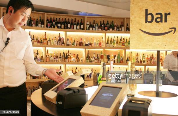 Amazon Japan KK unveils the 'amazon bar' in Tokyo's posh Ginza district to the media on Oct 19 2017 The bar with around 5000 bottles of wine sake and...