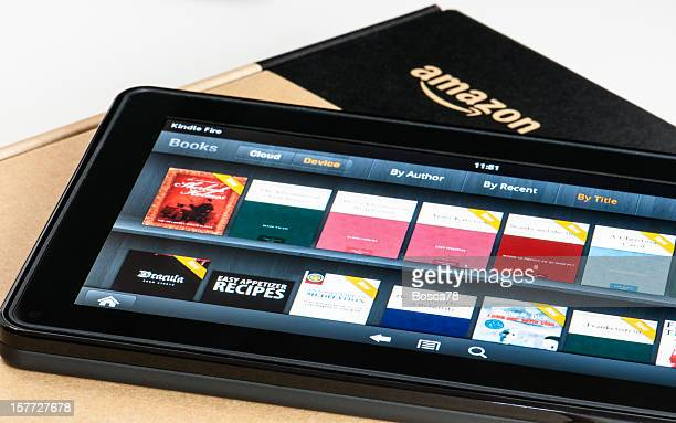 Amazon Kindle Fire tablet on a box.