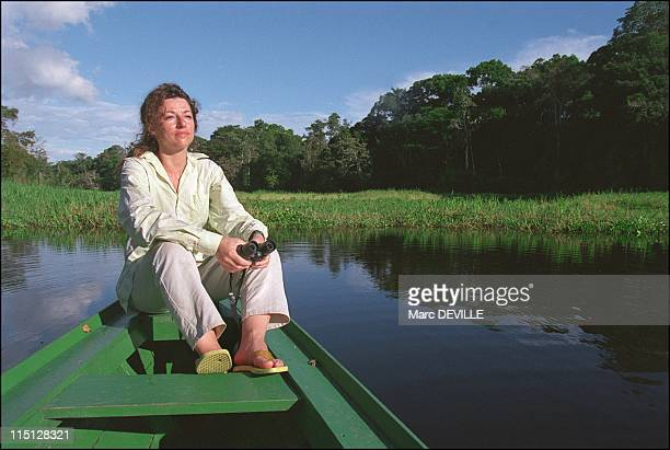Amazon rain forest Despina Chronopoulos explorer of Mamiraua the world's largest nature reserve in Brazil in April 2002 Vitoria Regia a variety of...