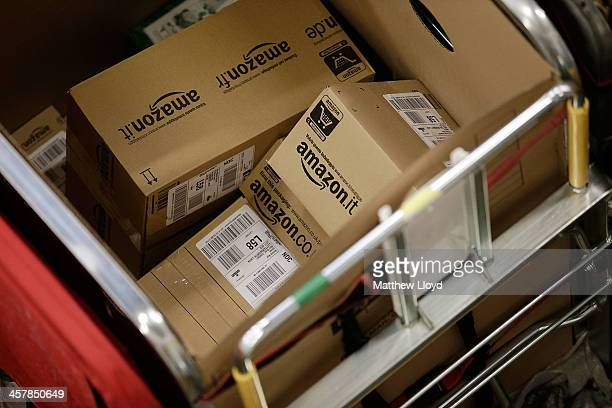 Amazon shipments in the packet and parcel section of the Royal Mail's Swan Valley mail centre on December 18 2013 in Northampton England This Friday...