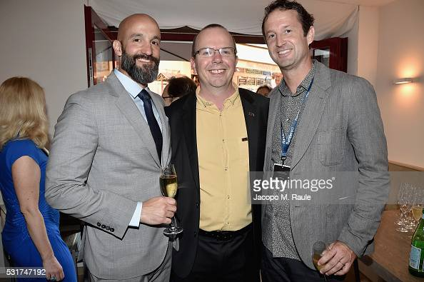 Amazon Studios Jason Ropell IMDb CEO Founder Col Needham and Sundance Film Festival's Trevor Groth attend IMDb's 2016 Dinner Party In Cannes at...