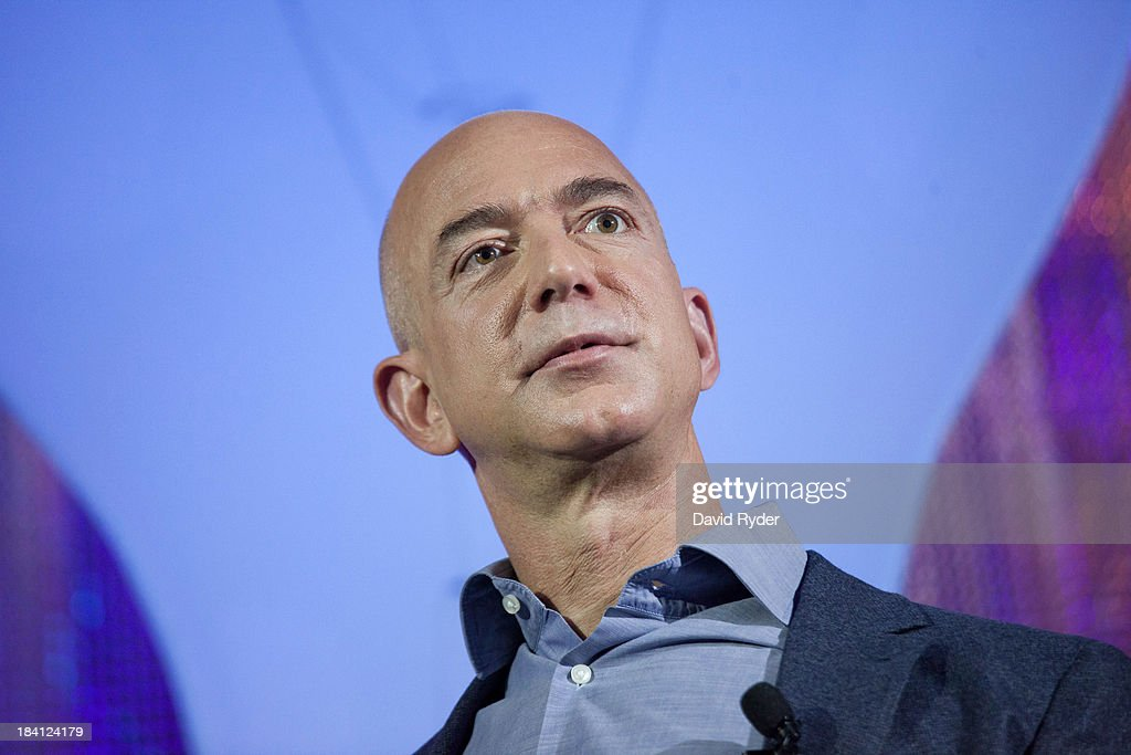 Amazon.com founder and CEO <a gi-track='captionPersonalityLinkClicked' href=/galleries/search?phrase=Jeff+Bezos&family=editorial&specificpeople=217573 ng-click='$event.stopPropagation()'>Jeff Bezos</a> attends a launch event for the Bezos Center for Innovation at the Museum of History and Industry on October 11, 2013 in Seattle, Washington. Supported by Jeff and MacKenzie Bezos, the center aims to highlight the history and future of innovation in the Puget Sound region.