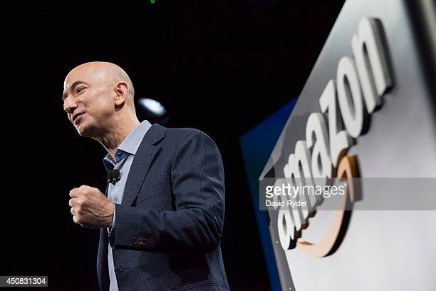 Amazoncom founder and CEO Jeff Bezos presents the company's first smartphone the Fire Phone on June 18 2014 in Seattle Washington The muchanticipated...