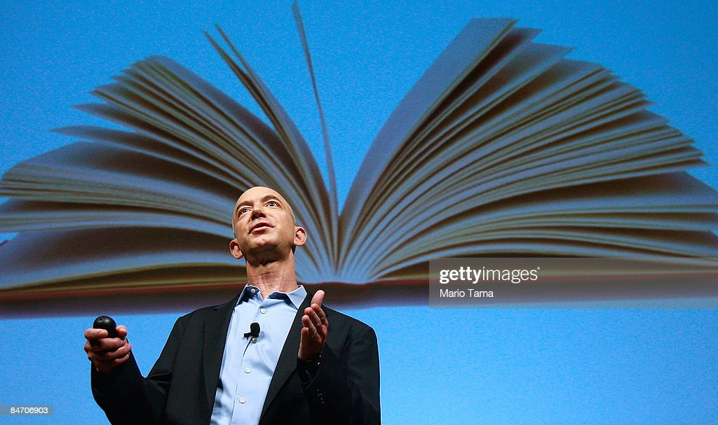 Amazon.com founder and CEO Jeffrey P. Bezos speaks at an event unveiling the new Amazon Kindle 2.0 at the Morgan Library & Museum February 9, 2009 in New York City. The updated electronic reading device is slimmer with new syncing technology and longer battery life and will begin shipping February 24th.