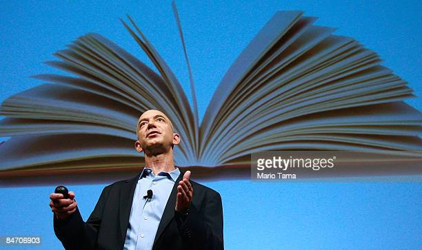 Amazoncom founder and CEO Jeffrey P Bezos speaks at an event unveiling the new Amazon Kindle 20 at the Morgan Library Museum February 9 2009 in New...