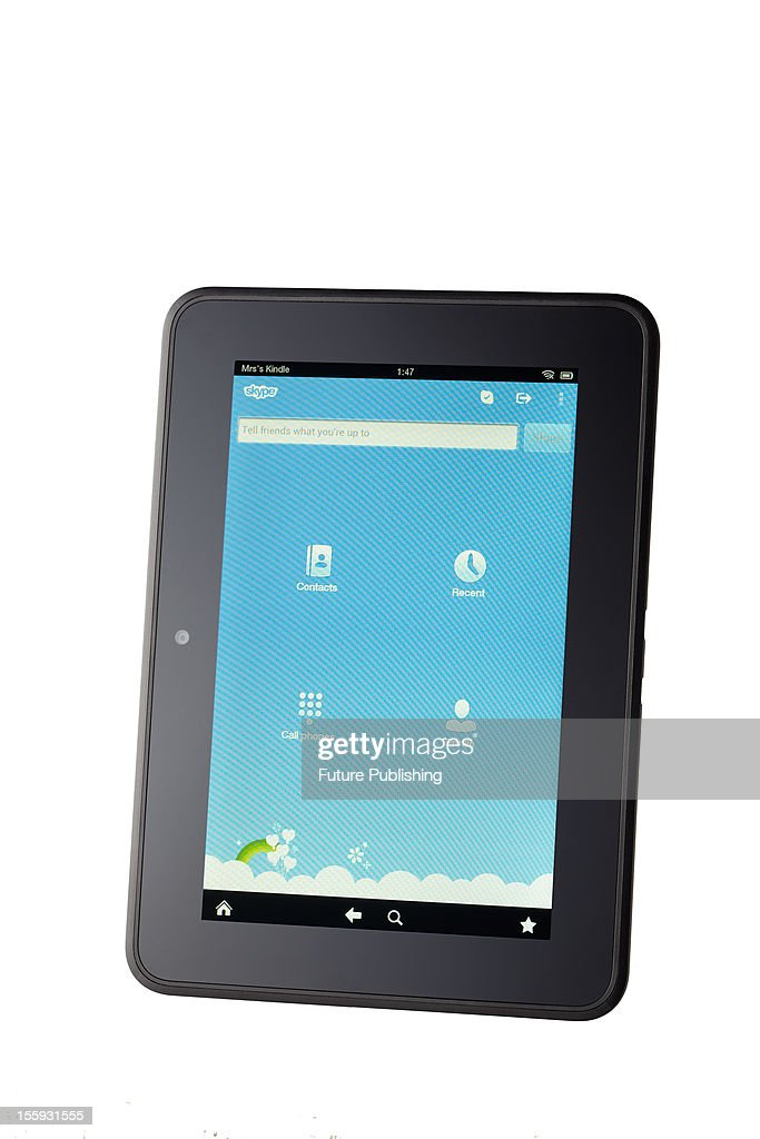 Amazon's Kindle Fire HD e-book reader and mini tablet computer connected to Skype, October 29, 2012.
