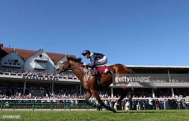 Amazour ridden by Martin Harley wins the Betfred Big Five O For Jackie Handicap Stakes at Haydock racecourse on May 23 2015 in Haydock England